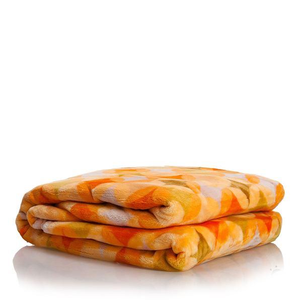 resm Akrilik Oranj Kareli Çift Kişilik Battaniye
