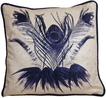 Resim Yastıkminder Kadife Ekru Mor Egzotik Çiçekli Yastık