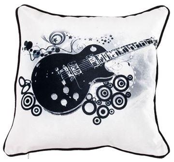 Resim Yastıkminder Kadife Keten Kum Siyah Beyaz Gitar Dijital Baskılı Dekoratif Yastık