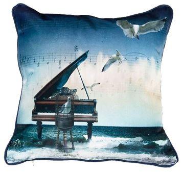 Resim Yastıkminder Kadife Keten Mavi Lacivert Piyano Dijital Baskılı Dekoratif Yastık