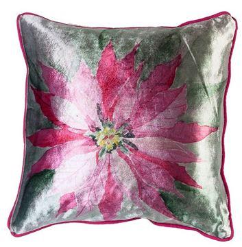 Resim Yastıkminder Kadife Pembe Çiçek Dijital Baskı Dekoratif Yastık