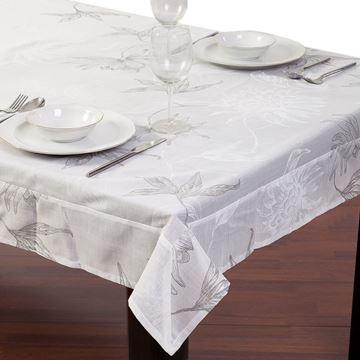 Resim Keten Beyaz Gümüş Yaldız Baskılı Dikdörtgen Masa Örtü