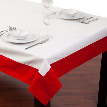 Resim Koton Beyaz Kırmızı Bantlı Dikdörtgen Masa Örtü