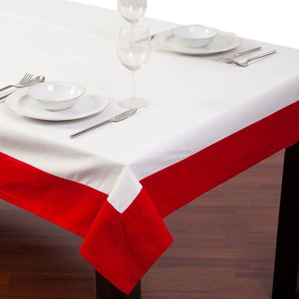 resm Koton Beyaz Kırmızı Bantlı Dikdörtgen Masa Örtü