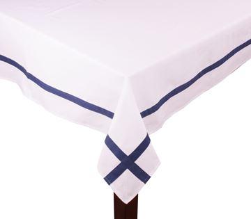 Resim Koton Beyaz Lacıvert Fitilli Dikdörtgen Masa Örtü