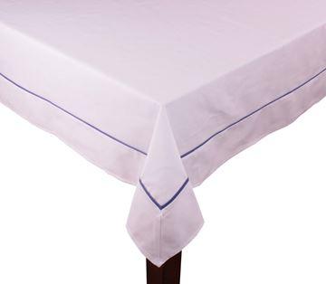 Resim Koton Beyaz Lacivert Fitilli Dikdörtgen Masa Örtü