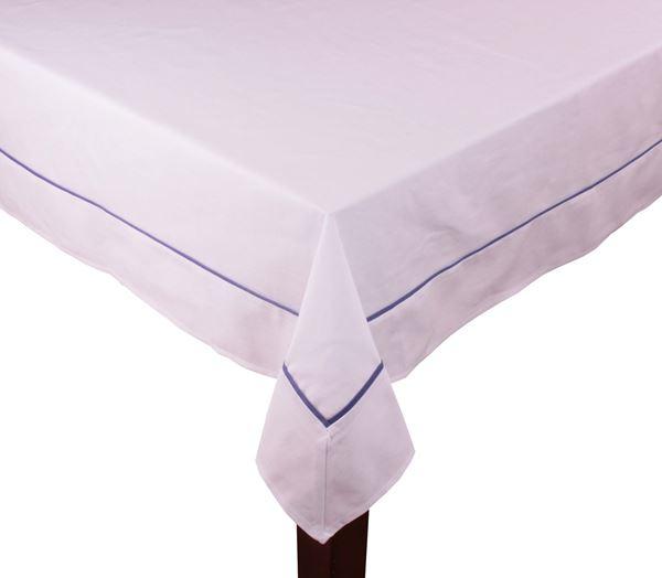 resm Koton Beyaz Lacivert Fitilli Dikdörtgen Masa Örtü
