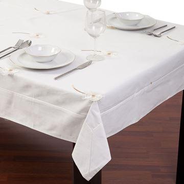 Resim Koton Beyaz Papatya Nakışlı Dikdörtgen Masa Örtü