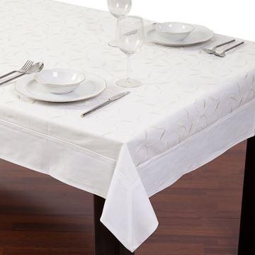 Resim Koton Beyaz Yaprak Nakışlı Dikdörtgen Masa Örtü