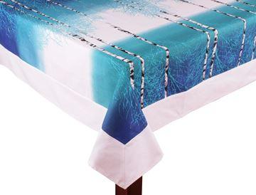 Resim Koton Beyaz Mavi Ağaç Kökleri Desen Dikdörtgen Masa örtü