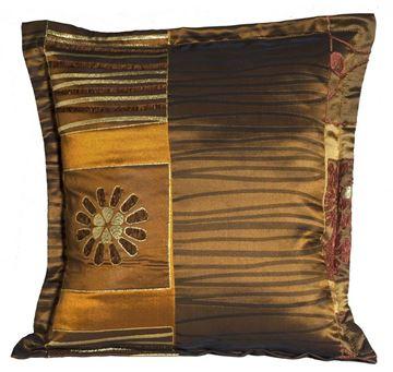 Resim Yastıkminder Tafta Kahve Altın Renk Kulaklı Dekoratif Yastık KILIFI
