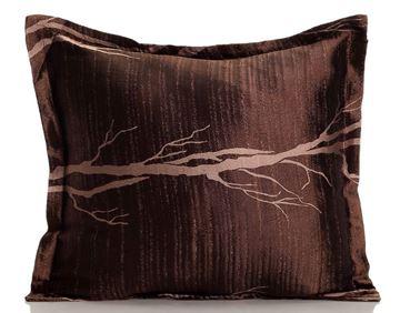 Resim Yastıkminder Tafta Kahve Bej Kulaklı Ağaç Kökler Dekoratif Yastık KILIFI
