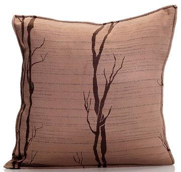 Resim Yastıkminder Tafta Bej Kahve Ağaç Kök Desen Dekoratif Yastık KILIFI