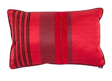 Resim Yastıkminder Tafta Kırmızı Bordo Şönil Çizgili Dekoratif Yastık Kılıfı