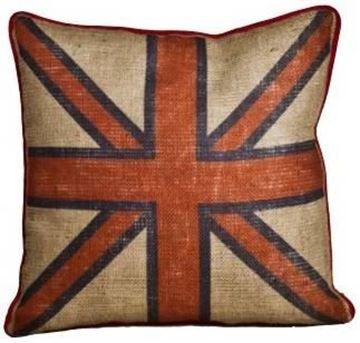 Resim Yastıkminder Jüt Kumaş Dijital Baskı İngiliz Bayrak Desenli Kare Yastık