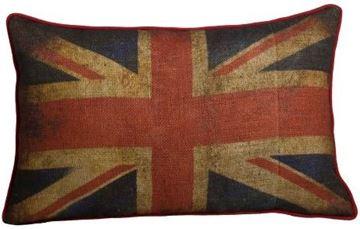 Resim Yastıkminder Jüt Kumaş İngiliz Bayrak Desenli Dikdörtgen Yastık