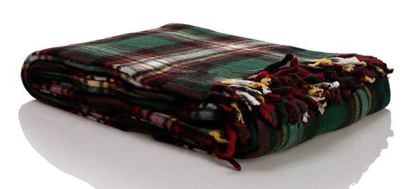 resm Skoç Çift Taraflı Kırmızı Nefti Çift Kişilik Battaniye