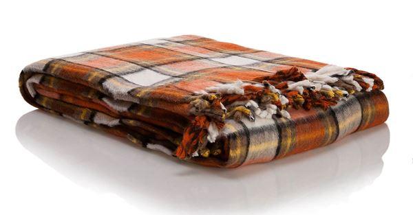 resm Skoç Çift Taraflı Oran Kahve Çift Kişilik Battaniye