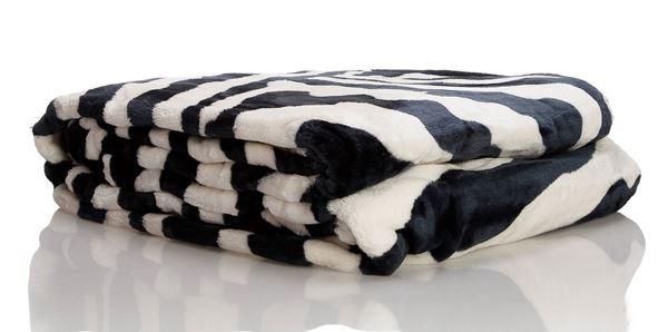 resm Akrilik Siyah Beyaz Zebra Desen Çift Kişilik Battaniye