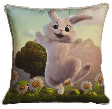 Resim Yastıkminder Polyester Kumaş Dijital Tavşanlı Baskılı Yastık