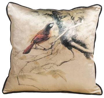 Resim Yastıkminder Kadife Kumaş Dijital Baskı Dalda Kuş Dekoratif Yastık