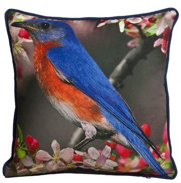 Resim Yastıkminder Polyester Kumaş Dijital Baskı Mavi Kuşlu Dekoratif Yastık Kılıfı