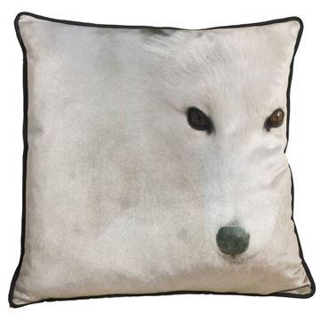 Resim Yastıkminder Polyester Kumaş Dijital Baskı Beyaz Kurt Dekoratif Yastık Kılıfı