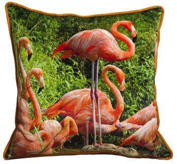 Resim Yastıkminder Kadife Kumaş Dijital Baskı Flamingolu Dekoratif Yastık Kılıfı
