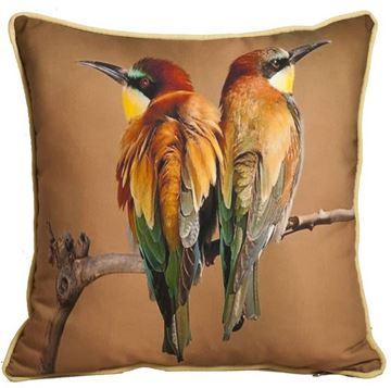 Resim Yastıkminder Polyester Dalda Çift Kuş Dijital Baskı Dekoratif Yastık Kılıfı