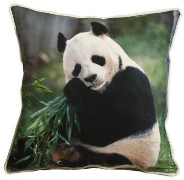 Resim Yastıkminder Poyester Dijital Baskı Siyah Beyaz Pandalı Dekoratif Yastık Kılıfı
