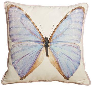 Resim Yastıkminder Polyester Kumaş Mavi Kelebek Dilital Baskı Dekoratif Yastık Kılıfı