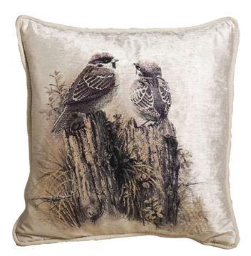 Resim Yastıkminder Kadife Ekru Gri Dalda Çift Kuşlu Dekoratif Yastık Kılıfı