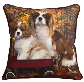 Resim Yastıkminder Polyester Köpek Dijital Baskı Bordo Kahve Dekoratif Yastık Kılıfı