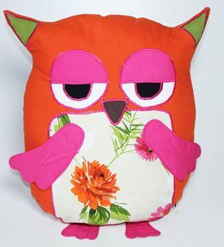 Resim Yastıkminder Koton Kırmızı Pembe Baykuş Figürlü Dekoratif Yastık