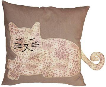 Resim Yastıkminder Koton Kahve Leopar Kedi Formunda Dekoratif Yastık