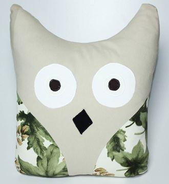 Resim Yastıkminder Koton Kum  Karnı Yeşil Yapraklar Baykuş Yastık