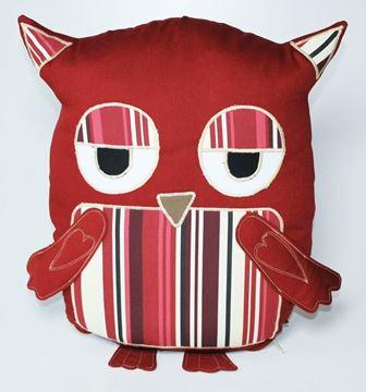 Resim Yastıkminder Koton Bordo çizgili Göbekli Baykuş Yastık