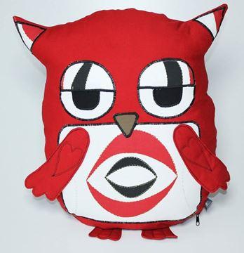 Resim Yastıkminder Koton kırmızı Ekose Göbekli Baykuş Yastık