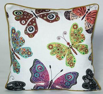 Resim Yastıkminder Koton Polyester Lila Fıstık Renkli Kelebekler Yastık