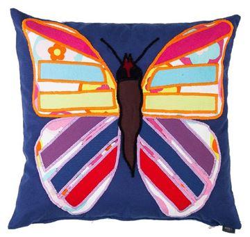 Resim Yastıkminder Koton Lacivert Kelebek Figür Aplikeli Dekoratif Yastık