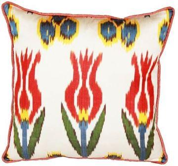 Resim Yastıkminder İpek İkat Kırmızı Lale Yastık