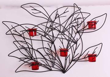 Resim Siyah Yapraklar 5 Bardaklı Mumluk