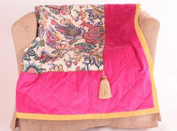 Resim Kadife Koton Tafta Fuşya Sarı Dekoratif 140X140 Kanepe Şalı