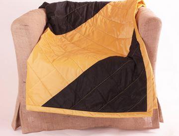 Resim Tafta Sarı Siyah 140X140 Dekoratif Kanepe Şalı