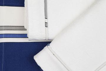 Resim Koton Beyaz Kumaş Lacivert Çizgili Aplikeli Pike Takımı