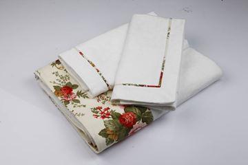 Resim Koton Beyaz Kumaş Kırmızı Çiçekli Aplikeli Pike Takımı