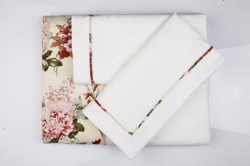 Resim Koton Beyaz Kumaş Pembe Güller Aplikeli Pike Takımı