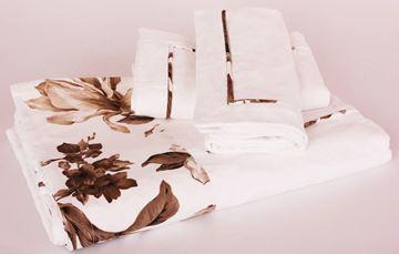 Resim Koton Beyaz Kenar Bantı Kahve Çiçekli Aplikeli Pike Takımı