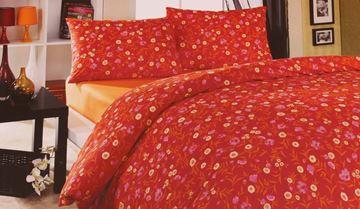 Resim Koton Oranj Bordo Çiçekli Çift Kişilik Nevresim Takımı