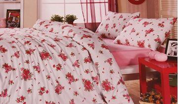 Resim Koton Kemik Renk Pembe Çiçekli Çift Kişilik Nevresim Takımı